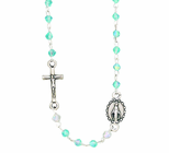 Aqua Facetted Crystal Rosary Necklace With Silver Crucifix