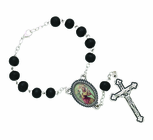 Black Wood Auto Rosary With Silver Plated Crucifix