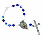 Blue Glass Auto Rosary With Silver Plated Crucifix