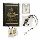 Boy's Communion Set with Black Mass Book (Option to Personalize Rosary)