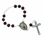 Brown Wood Auto Rosary With Silver Plated Crucifix
