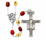 Brown Wood Franciscan Rosary With Silver Crucifix