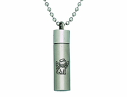 Cat Angel Wings Steel Ash Vial On 22 Inch Stainless Steel Chain