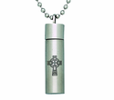 Celtic Cross Steel Ash Vial On 22 Inch Stainless Steel Chain