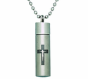Crucifix Steel Ash Vial On 22 Inch Stainless Steel Chain