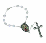 Crystal Glass Auto Rosary With Silver Plated Crucifix