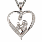 "CZ Stone Bordered Silver Heart Mother and Child Pendant on 18"" Chain"