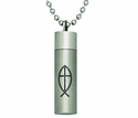 Fish Cross Steel Ash Vial On 22 Inch Stainless Steel Chain