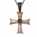 "Flare Crystal Cross Marcasite Necklace with faceted Black Crystal on 16"" Chain"