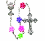 Flower Bead Communion Rosary With Silver Crucifix On 16 Inch Chain