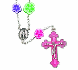 Flower Bead Necklace With Pink Crucifix On 16 Inch Chain