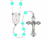 Glass Aqua Cube Bead Rosary With Silver Crucifix