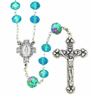 Glass Cut Aqua Flower Our Father Rosary With Silver Crucifix