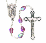 Glass Tear Drop Cut Amethyst Bead Rosary With Silver Crucifix