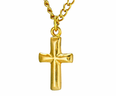Gold Cross Pendant On 18 Inch Gold Chain