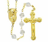 Gold Tin Cut Crystal Bead Rosary With Gold Plated Crucifix