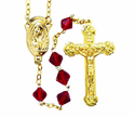 Gold Tin Cut Red Bead Rosary With Gold Plated Crucifix