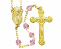 Gold Tin Cut Rose Bead Rosary With Gold Plated Crucifix