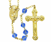 Gold Tin Cut Sapphire Bead Rosary With Gold Plated Crucifix