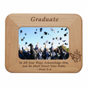 "Graduation Laser Engraved Maple Wood Photo Frame Holds 4"" x 6"" Photo"