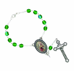 Green Glass Auto Rosary With Silver Plated Crucifix