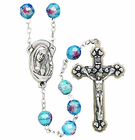 Imitation Murano Glass Cut Aqua Bead Rosary With Silver Crucifix