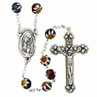 Imitation Murano Glass Cut Black Bead Rosary With Silver Crucifix