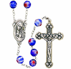 Imitation Murano Glass Cut Blue Bead Rosary With Silver Crucifix