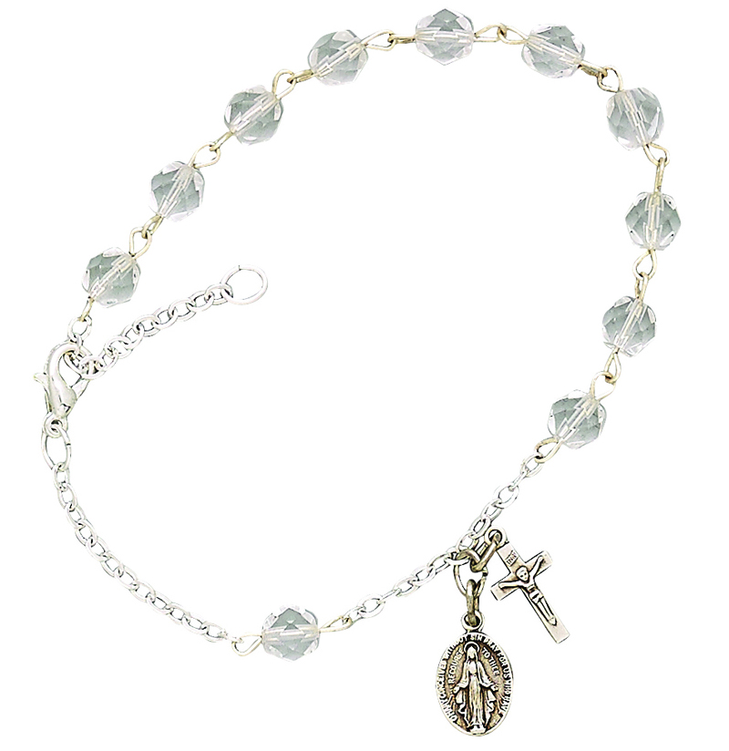 36ff4eda62c Ladies April Birthstone Rosary Bracelet With Sterling Silver Medal And  Crucifix