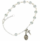 Ladies April Birthstone Rosary Bracelet With Sterling Silver Medal And Crucifix