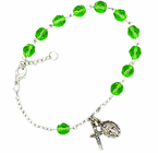 Ladies August Birthstone Rosary Bracelet With Sterling Silver Medal And Crucifix