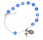 Ladies December Birthstone Rosary Bracelet With Sterling Silver Medal And Crucifix