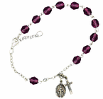 Ladies February Birthstone Rosary Bracelet With Sterling Silver Medal And Crucifix