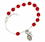 Ladies July Birthstone Rosary Bracelet With Sterling Silver Medal And Crucifix