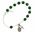 Ladies May Birthstone Rosary Bracelet With Sterling Silver Medal And Crucifix