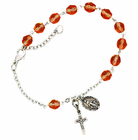Ladies October Birthstone Rosary Bracelet With Sterling Silver Medal And Crucifix
