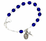 Ladies September Birthstone Rosary Bracelet With Sterling Silver Medal And Crucifix
