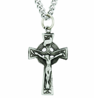 Large Sterling Silver Celtic Crucifix On 24 Inch Stainless Steel Chain
