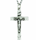 Large Sterling Silver Crucifix On 24 Inch Stainless Steel Chain