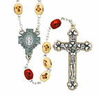 Light Wood Carved Cross Bead Rosary With Silver Crucifix