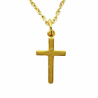 Sterling Silver Medium Gold Finish Polish Cross on 18 Inch Chain
