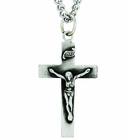 Medium Sterling Silver Crucifix On 24 Inch Stainless Steel Chain