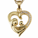 """Mother and Child CZ Stone Bordered Gold Heart Pendant on 18"""" Chain"""
