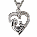 "Mother and Child CZ Stone Bordered Silver Heart Pendant on 18"" Chain"