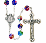 Multi Colored Imitation Murano Bead Rosary With Silver Crucifix