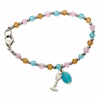 Multicolored Bead Bracelet with Chalice And Miraculous Charms