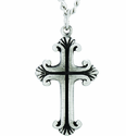 Nickel Silver Budded Line Cross Pendant On 24 Inch Stainless Steel Chain