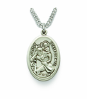 "Nickel Silver Engraved Oval St. Christopher Medal on 20"" Chain"