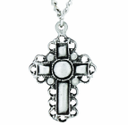 Nickel Silver Filigree Border Cross Pendant On 24 Inch Stainless Steel Chain