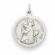 "Nickel Silver Football Medal With St.Christopher  Back on 20"" Chain"